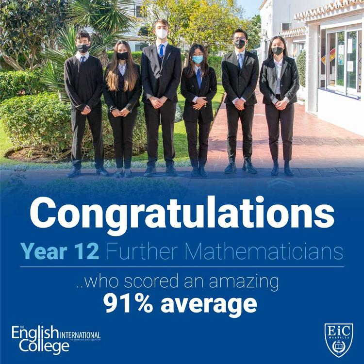 Year 12 Further Mathematicians scored an amazing 91% average score in their January A Level examinations