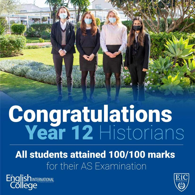 "Congratulations to the EIC Year 12 ""A Level"" historians"